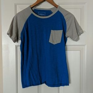 Casual blue and gray color block shirt